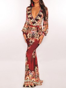 Burgundy Tribal Print Deep V-neck Long Sleeve Cut Out Bohemian Maxi Dress