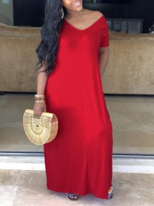 Red Pockets Off Shoulder Half Sleeve Oversized Casual Maxi Dress