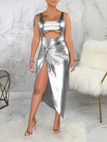 Silver Cut Out Spaghetti Strap Irregular Two Piece PU Leather Party Maxi Dress