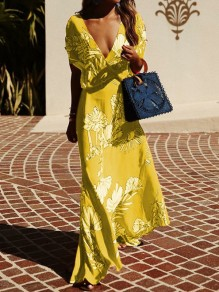 Yellow Floral Print V-neck Short Sleeve Bohemian Maxi Dress