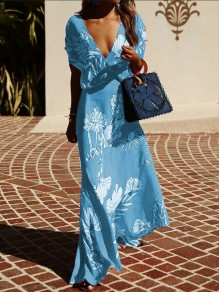 Light Blue Floral Print V-neck Short Sleeve Bohemian Maxi Dress