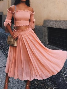 Pink Bow Ruffle Elbow Sleeve Off Shoulder Sweet Two-Piece Dress