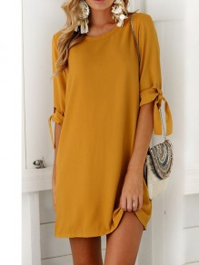 Yellow Mustard Belt Round Neck Short Sleeve Simple Casual Ladies Mini Dress
