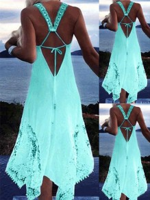 Green Patchwork Lace Irregular Lace-up Backless Beach Midi Dress