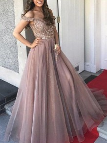 Apricot Patchwork Beading Pleated Off Shoulder Backless Banquet Maxi Dress