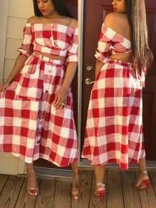 Red-White Plaid Print Pockets Buttons Off Shoulder Short Sleeve Two-Piece Dress