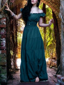 Green Off Shoulder Pleated Elegant Prom Evening Party Maxi Dress