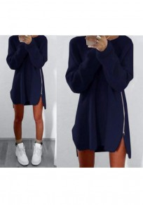 Navy Blue Plain Irregular Zipper Casual Oversized Pullover Sweater With Legging