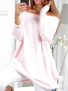 Pink Plain Boat Neck Long Sleeve Pullover Sweater
