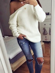 White Plain Off-shoulder Boat Neck Casual Oversize Pullover Sweater