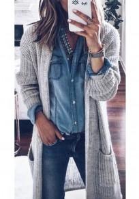 Cardigan tasche drappeggiate maniche lunghe maglione di moda grigio