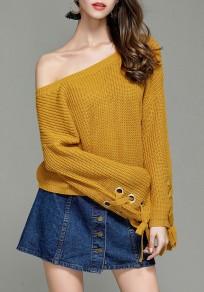 Pullover coulisse collo rotondo manica lunga giallo