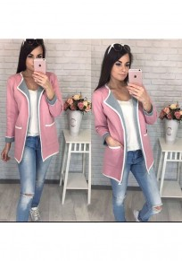 Cardigan normale tasche casuale rosa