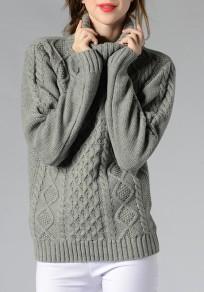 Pullover collo alto manica lunga casuale grigio