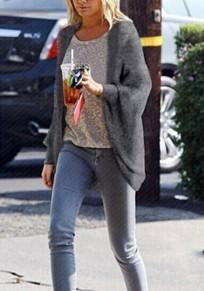Cardigan maniche di dolman moda oversize allungata grigio