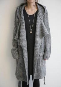 Cardigan tasche A cintura con v-collo con cappuccio manica lunga grigio