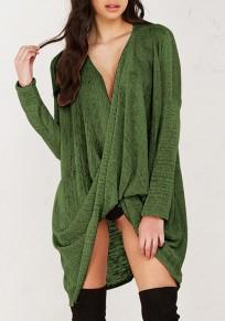Maglione v-collo irregolare manica lunga moda sfusa verde