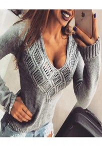 Grey Cut Out V-neck Long Sleeve Knitwear Pullover Sweater