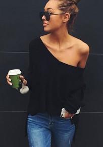 Maglione semplice irregolare scollatura moda nero