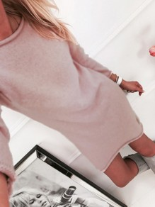Pink Plain Round Neck Casual Pullover Sweater