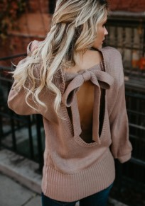 Coffee Pink Drawstring Cut Out Round Neck Pullover Sweater