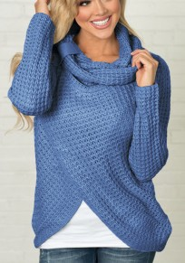 Blue Studded Irregular Cowl Neck Long Sleeve Fashion Pullover Sweater
