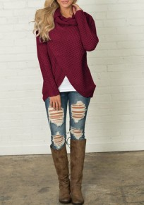 Wine Red Studded Irregular Cowl Neck Long Sleeve Fashion Pullover Sweater