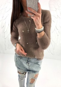 Khaki Pearl Round Neck Long Sleeve Fashion Pullover Sweater