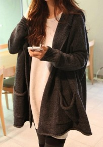Drak Grey Pockets Hooded Going out Casual Cardigan Sweater