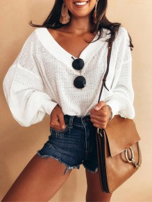 White Deep V-neck Off Shoulder Casual Pullover Sweater