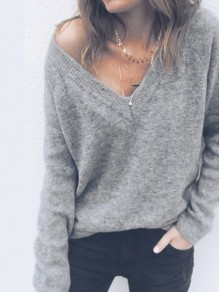 Grey V-neck Multi-Way Long Sleeve Slouchy Casual Pullover Sweater