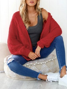 Red Plain Button Dolman Sleeve Loose Casual Cardigan Sweater