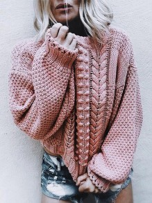 Pink Patchwork Lantern Sleeve Fashion Pullover Sweater