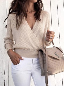 Apricot V-neck Long Sleeve Fashion Going out Pullover Sweater