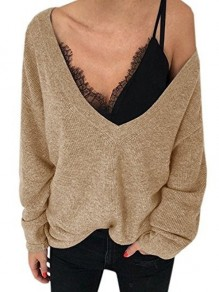 Khaki Asymmetric Shoulder Plunging Neckline Long Sleeve Casual Sweater
