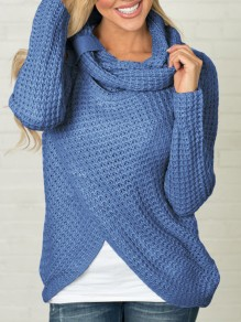 Blue Irregular Buttons Ruffle Collar Cute Pullover Sweater