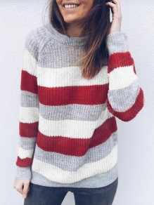 White Striped Round Neck Loose Fashion Pullover Sweater