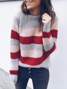 Pink Striped Round Neck Loose Fashion Pullover Sweater