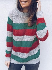 Green Striped Round Neck Loose Fashion Pullover Sweater