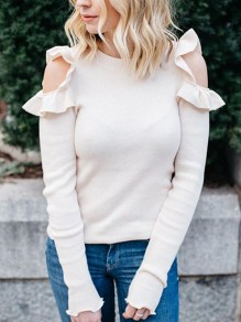 Beige Ruffle Off Shoulder Round Neck Pullover Sweater