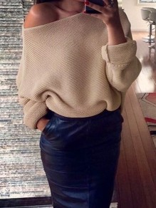 Khaki Asymmetric Shoulder Round Neck Long Sleeve Casual Sweater