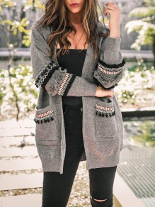 Grey Patchwork Pockets Ruffle Tassel Long Sleeve Casual Cardigan Sweater