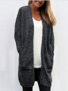 Dark Grey Pockets V-neck Long Sleeve Oversize Casual Cardigan Sweater