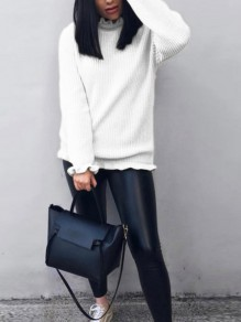 White Ruffle High Neck Long Sleeve Fashion Sweater