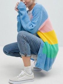Blue Rainbow Striped Print Single Breasted Long Sleeve Honey Girl Casual Knitwear Cardigan Sweater