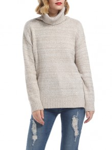 Khaki Cut Out Side Slit High Neck Long Sleeve Casual Sweater