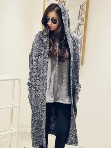 Dark Grey Pockets Draped Hooded Long Sleeve Casual Cardigan