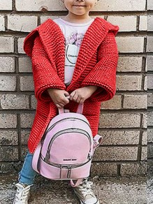 Red Plain Pockets Going out Cute Cardigan Sweater