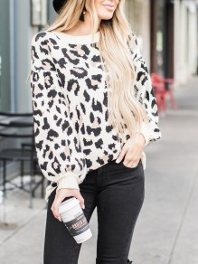 Khaki Leopard Print Oversize Long Sleeve Casual Fashion Slouchy Pullover Sweaters