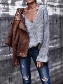 Grey V-neck Long Sleeve Fashion Going out Pullover Sweater